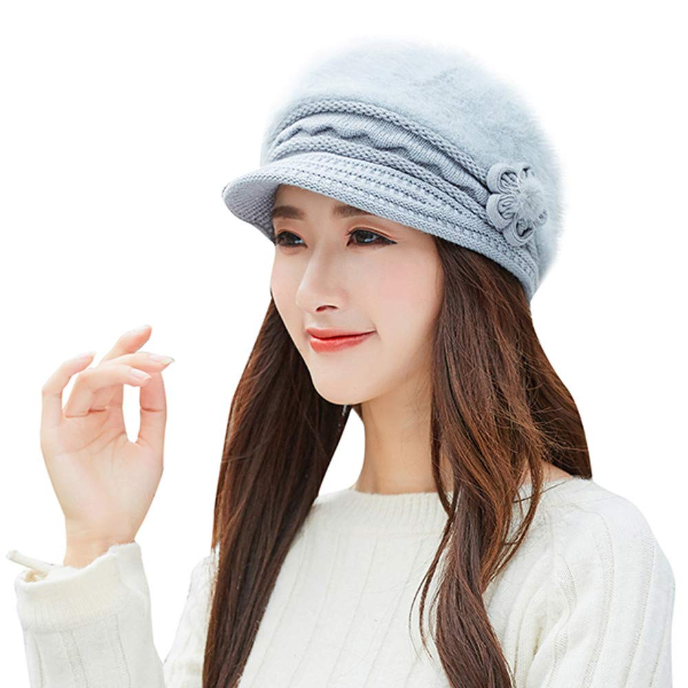 GREFER Fashion Womens Flower Knit Crochet Beanie Hat Winter Warm Cap Beret GREFER-Women Hats