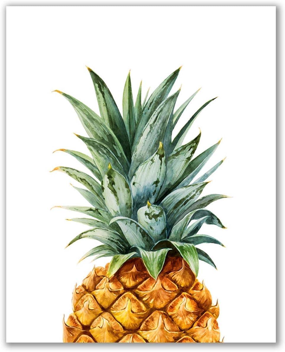 Botanical Pineapple Print - Unframed, Pineapple Nursery Décor, Fruit Pineapple Poster, Tropical Watercolor Print, Minimalist Green Kitchen Art (Pineapple Print, 8