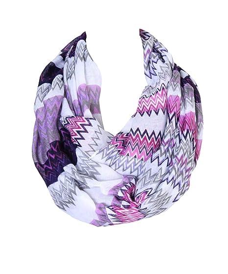 156a92950 Lucky Leaf Women Large Lightweight Cozy Infinity Loop Scarf Chevron Zig Zag  Printed (Purple)