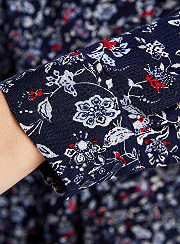 oodji Collection Mujer Vestido de Viscosa con Cinturón Azul (7945F)