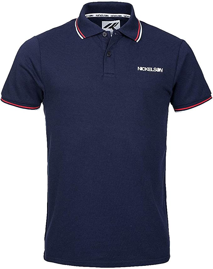 Nickelson Casual Cotton Polo Piqué T-shirt Retro Top New Black White Blue