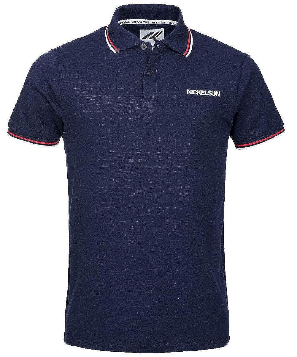Nickelson New Casual Cotton Polo Piqu/é T-Shirt Retro Top White Blue Anthracite