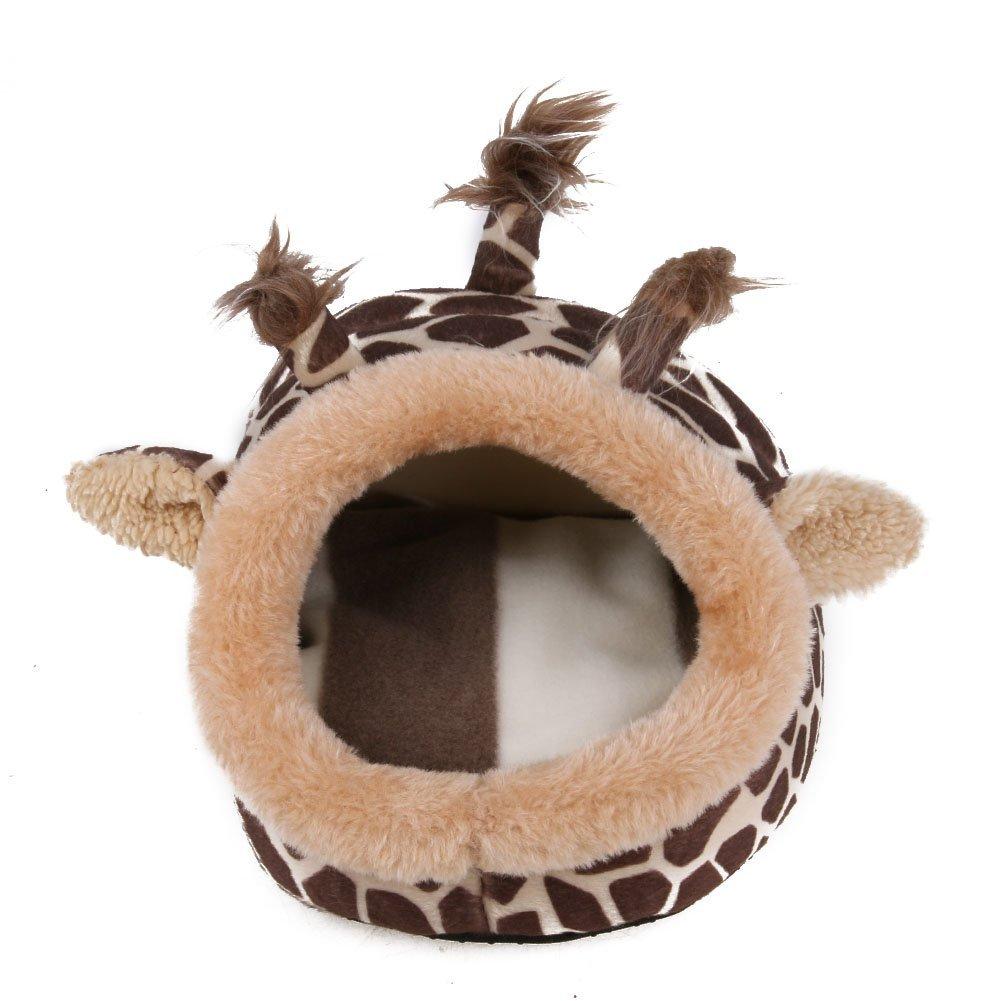 Pet Rabbit Pig Hamster House, Awakingdemi Cute Pet Hamster Cage Hammock Nest Animal Design Warm Plush Hamster House (L, Giraffe)