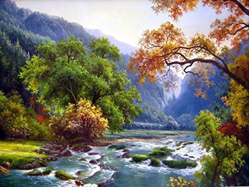 "Ant-Tree 15.75""x11.81"" River and Tree 5D DIY Diamond Painting Kit with Color Box Package Full Square Rhinestone Embroidery Cross Stitch Arts Craft for Home Wall Decoration"