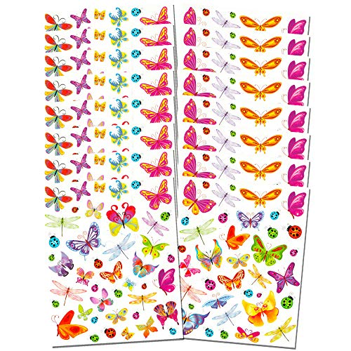 Butterfly Stickers Party Supplies Mega Pack -- Over 600 Butterflies Stickers (16 Party Favor Sheets)
