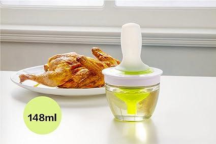 Lautechco 148ml High Temperature Silicone Oil Brush Glass Oil Bottle Suit Brush BBQ Brush Cooking Kitchen