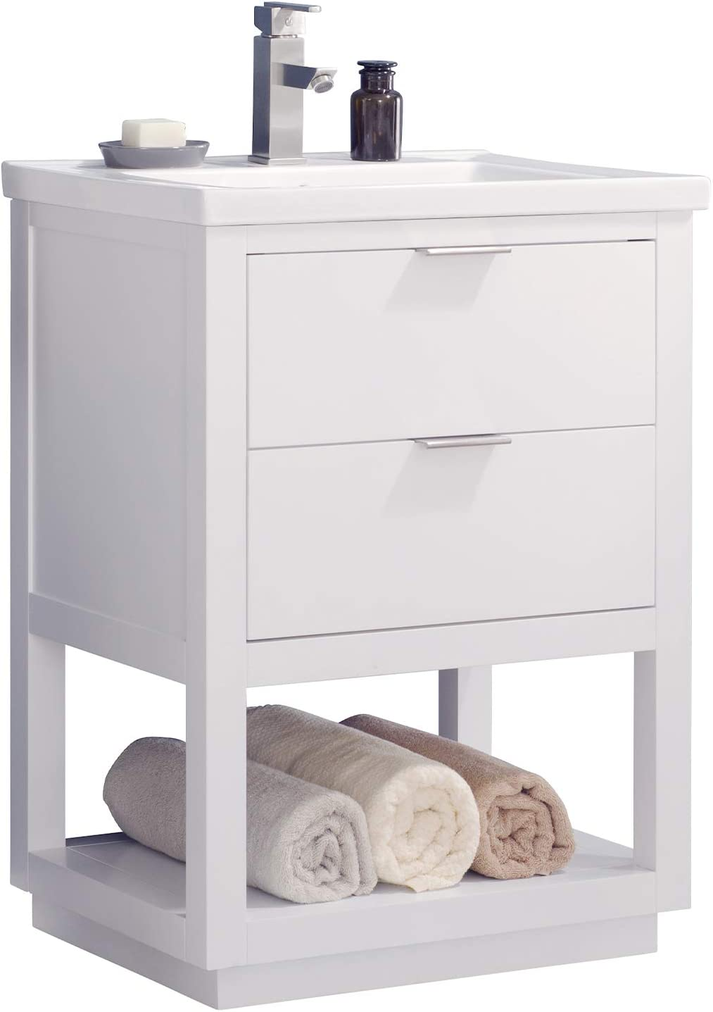 Luca Kitchen Bath LC24GWP Sydney 24 Bathroom Vanity Set in White Made with Hardwood and Integrated Porcelain Top
