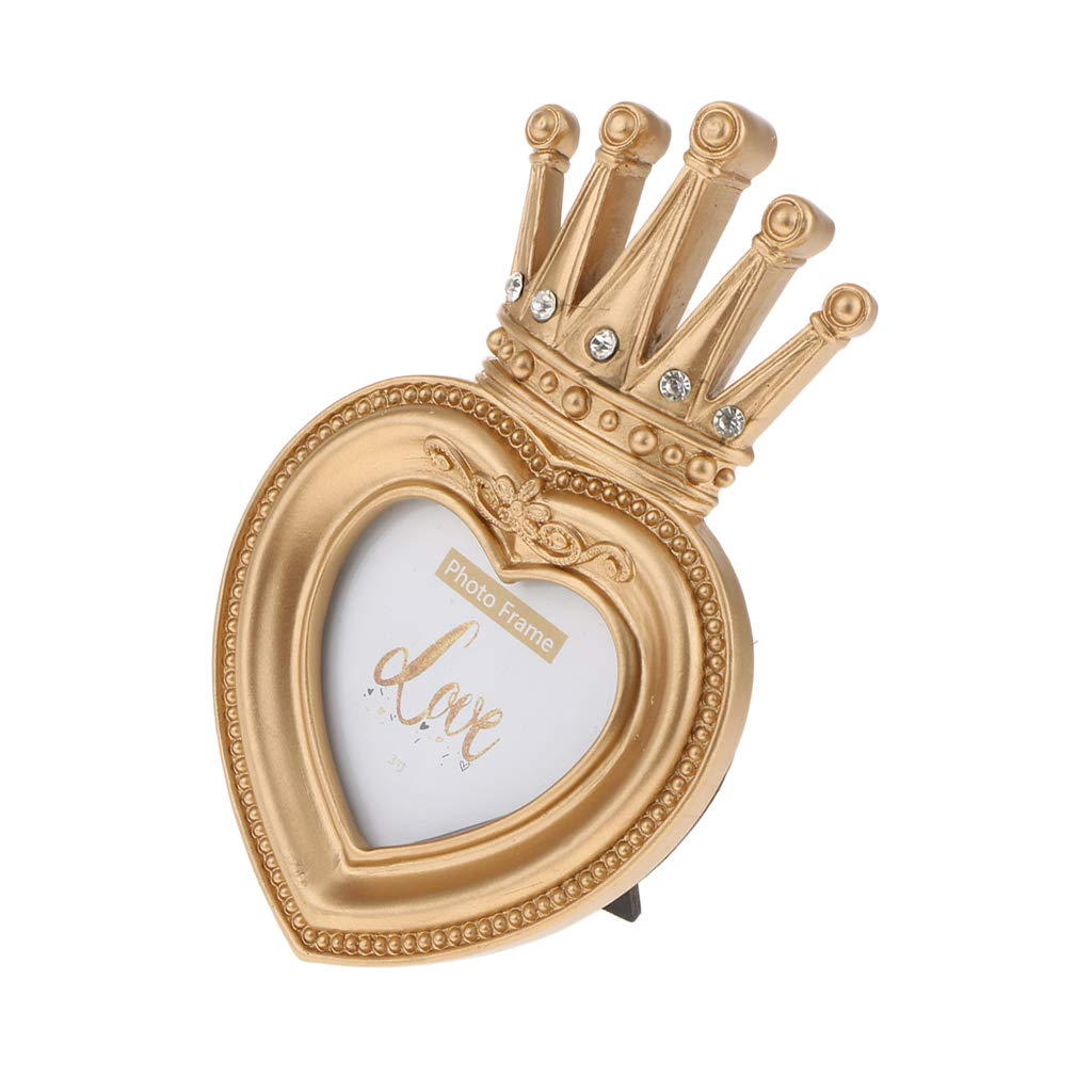 Luxury Gold Crown Photo Frame Gift for Friend and Family,Heart-Shape 3 Inch