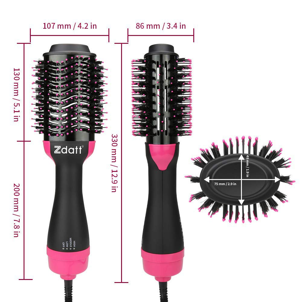 ZDATT Hot Air Hair Brush & Volumizer, 3-in-1 Salon Styling Hair Dryer and Styler, Negative Ion Straightening Brush Curl Brush, Multi-functional for Straight & Curly Hair. UL Swivel Wire b by ZDATT (Image #9)