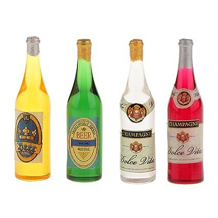 Conjunto De Botellas De Vino 4Pcs Casa De Muñecas En Miniatura Escala Del 1:12