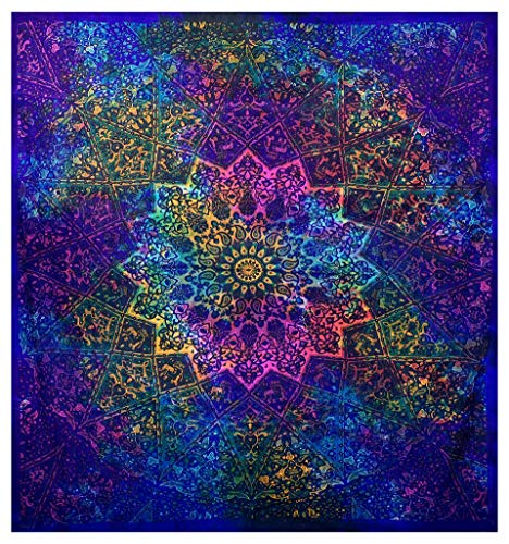 GLOBUS CHOICE INC. Multicolor Blue Tie Dye Bohemian Tapestry Elephant Star Mandala Tapestry Tapestry Wall Hanging Boho Tapestry Hippie Hippy Tapestry Beach Curtain Coverlet 90