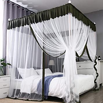JQWUPUP Elegant Bed Canopy Curtains, Color Stitching Ruffle Princess 4  Corner Post Mosquito Net, Bed Canopy for Girls Kids Toddlers Crib, Bedding  ...