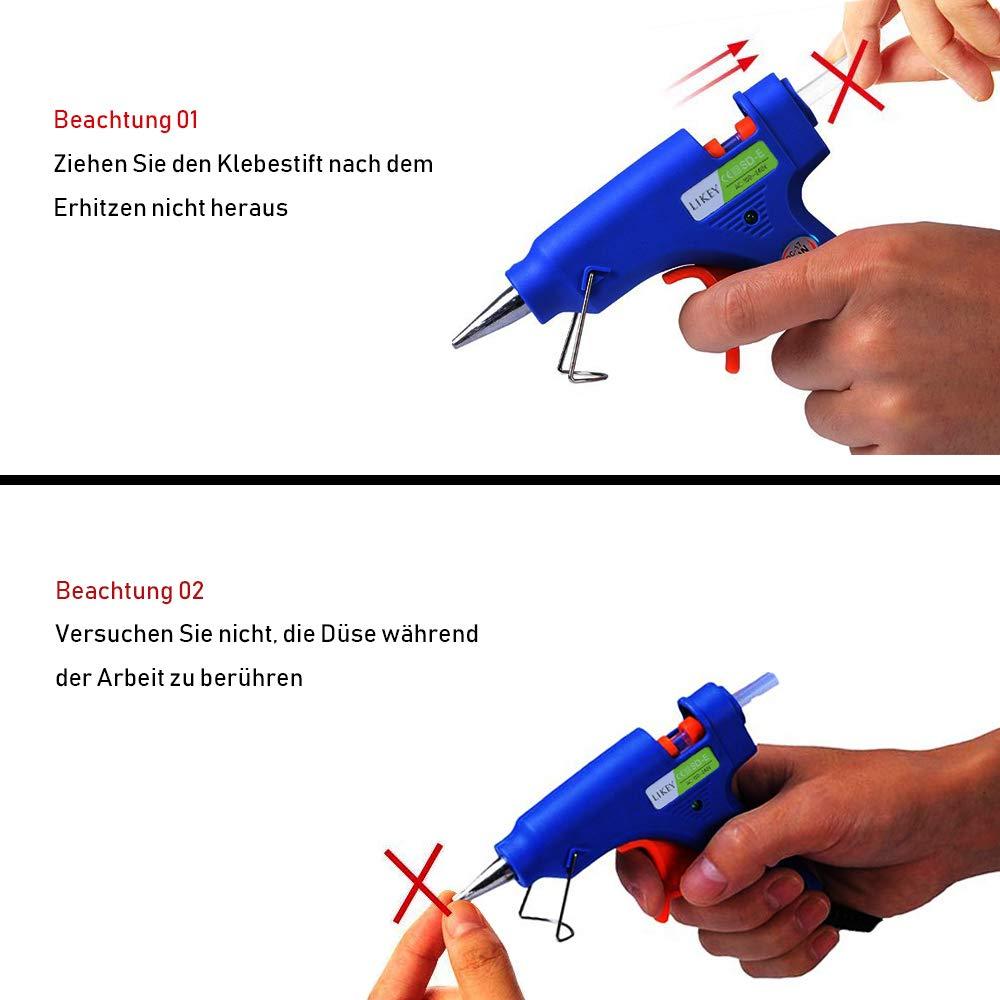 Likey Hei/ßklebepistole 20W Klebepistole 30 Hei/ßklebesticks DIY Kunst und Handwerk Projekte und schnelle Reparaturen in Haus /& B/üro