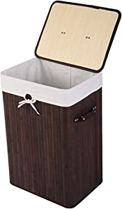 GOFLAME Bamboo Laundry Hamper Portable, Dirty Clothes Storage Basket with Lid and Removable Liner, Large Storage Clothes Bin with Handles, Suitable for Bedroom, Bathroom, Kid's Room (Brown)