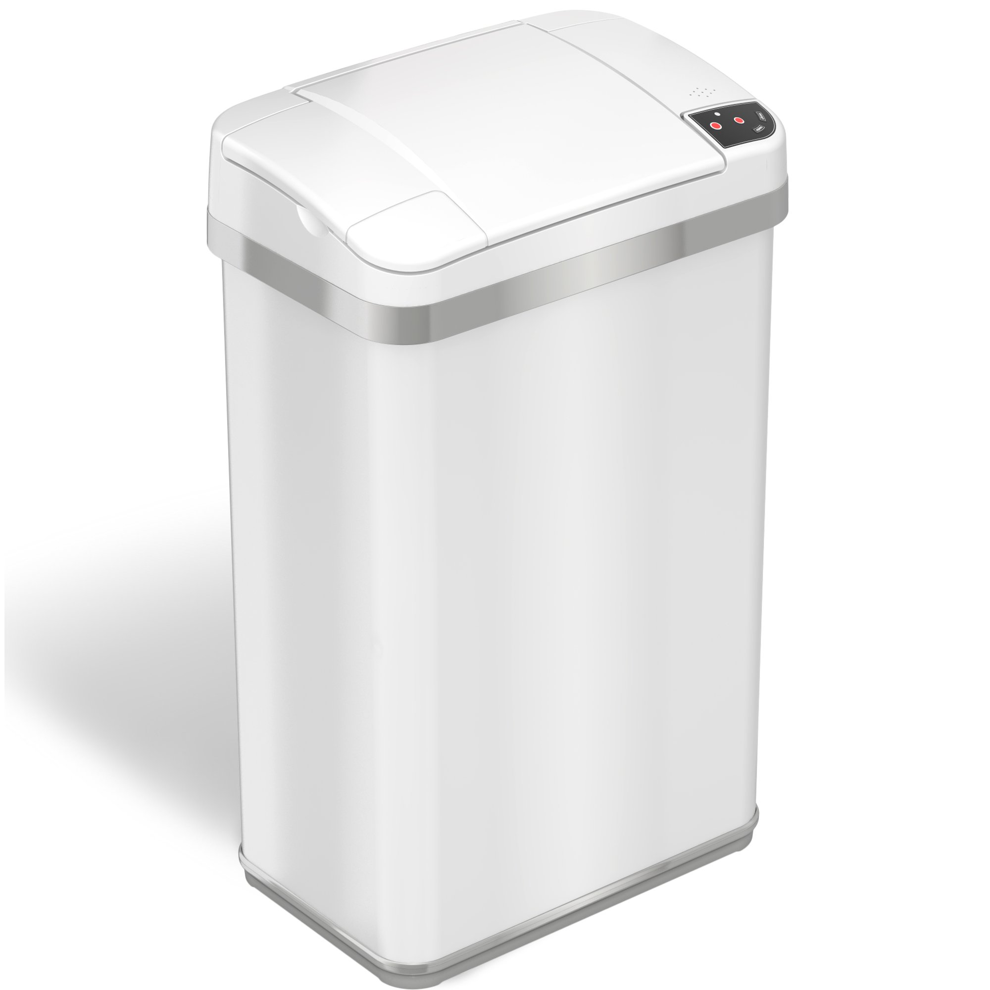 iTouchless Automatic Touchless Sensor Trash Can – includes Odor Filter and Fragrance – 4 Gallon / 15 Liter - White