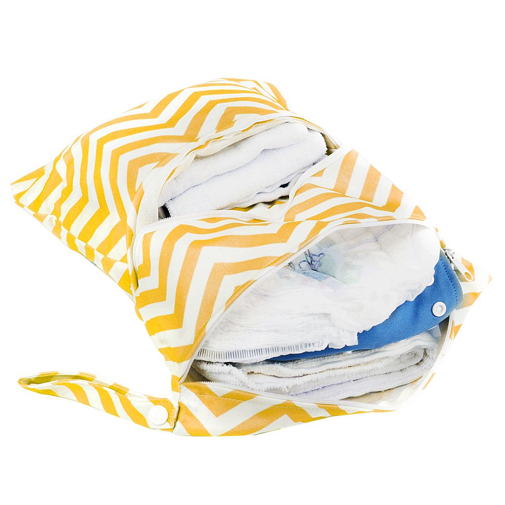2-Zip Baby Cloth Diaper Bag Wave Pattern Yellow and White