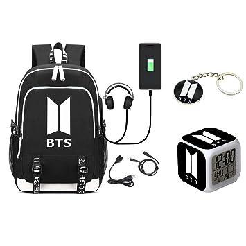 Grapes Garden Kpop BTS mochila de carga USB de estilo Casual + BTS despertador de LED, ...