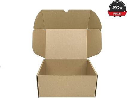 Cajeando   Pack de 20 Cajas de Cartón Automontables   Tamaño 21,6 x 15,3 x 10 cm   Para Envíos y Mudanzas   Color Marrón y Microcanal   Fabricadas en España: Amazon.es: Oficina y papelería