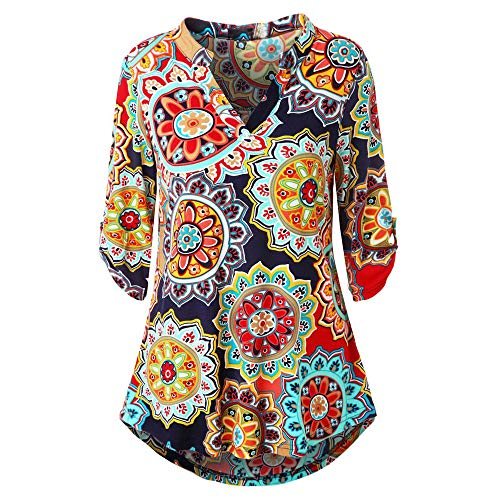 KIKOY Womens V-Neck 3/4 Sleeve Vintage Floral Print Casual Soft Long Tunic Tops Red