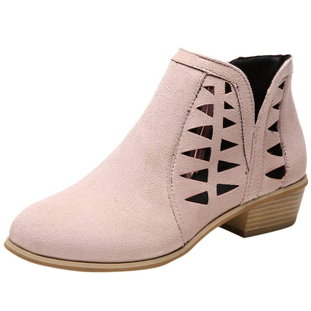 Shusuen Women's Closed Toe Multi Strap Ankle Bootie Pink by Shusuen_Shoes