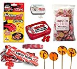 Deluxe Bacon Candy Sampler Gift Pack (6pc Set + Wristband) - Bacon Mints, Jelly Beans, Gumballs, Maple Bacon Lollipops, Salt Water Taffy & Sizzling Rock Candies + Silicone Wristband