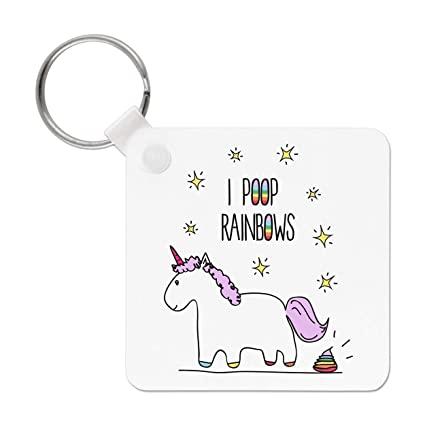 Gift Base Lila Unicornio i Caca Rainbows Llavero: Amazon.es ...