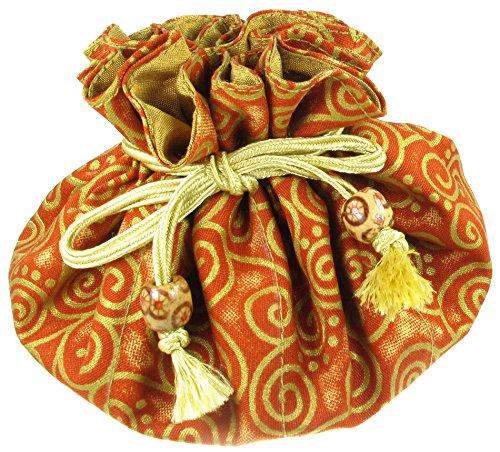 Silk & Cotton Drawstring Jewelry Pouch, Rust Orange with Gold Swirls