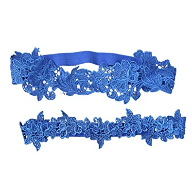 882b9f557 Image Unavailable. Image not available for. Color  Merssavo Wedding Garter  Set Lace Garters Belt for Bride Women Blue ...