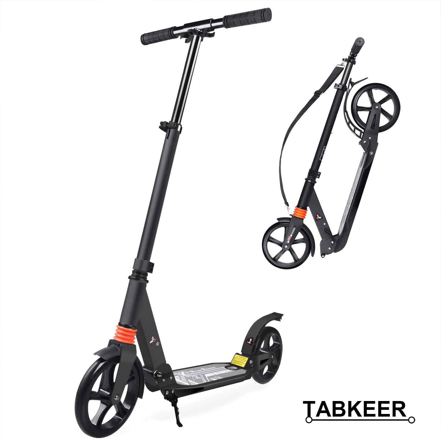 TABKEER Scooter for Adults Teens - 8 inch Big Wheel Scooter, Easy Folding Kick Scooter - Adjustable Handle & Double Suspension System, Reliable Rear Fender Brakes,Support 220lbs for Kids Age 12 Up by TABKEER