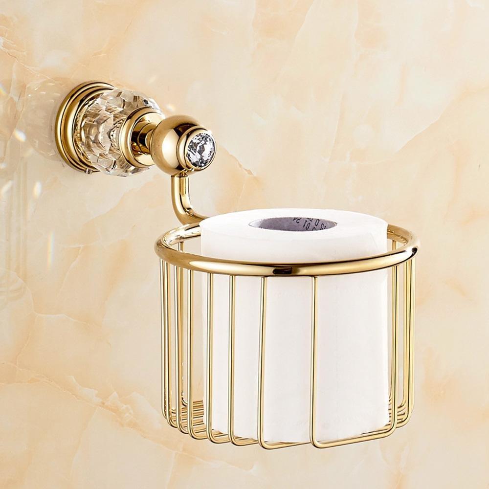 LINA@ European-style full-brass crystal blue storage baskets paper towel basket , Golden
