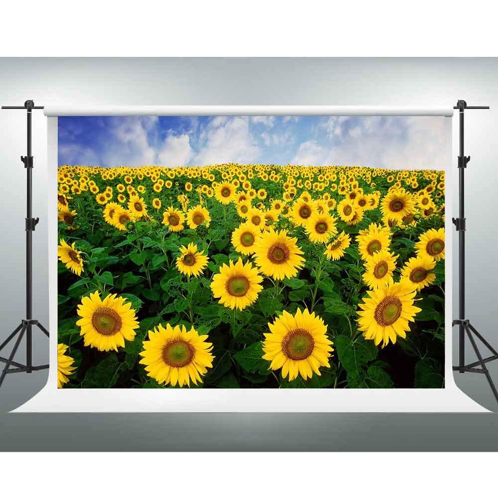 GESEN 10X7フィート ひまわり 背景 黄色 花 自然 野原 風景 写真 背景 テーマ パーティー チューブ 写真 スタジオ 撮影用小道具 LFGE069   B07GP4MKQH