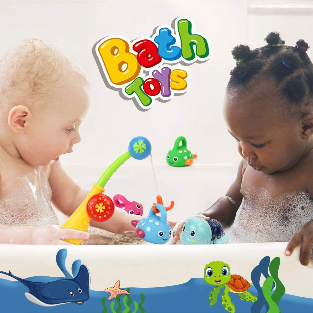 Bath Toys Fish Set Fishing Pole /& Net Fish Game Bathtub Water Table Shower Pool Bathroom Toy for Toddlers Baby Kids Infants Boys Girls Age 1 2 3 4 5 6 Years Old Fishing Game w// Swimming Tortoise