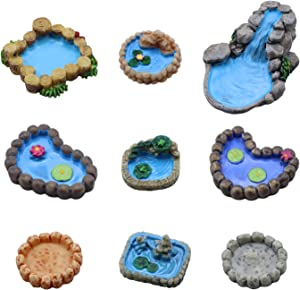 Fairy Garden Mini Pond Decoration Kit,Let Children Grow Up Happily, Used for Mini Garden Accessories, Home Micro Landscape Decoration, Miniature Fairy House and Figurine Garden Decoration