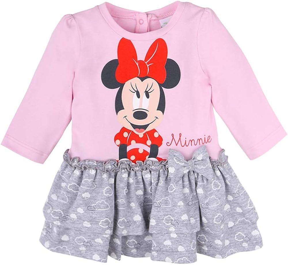 rosa Disney Baby M/ädchen Minnie Mouse Kleid Langarm