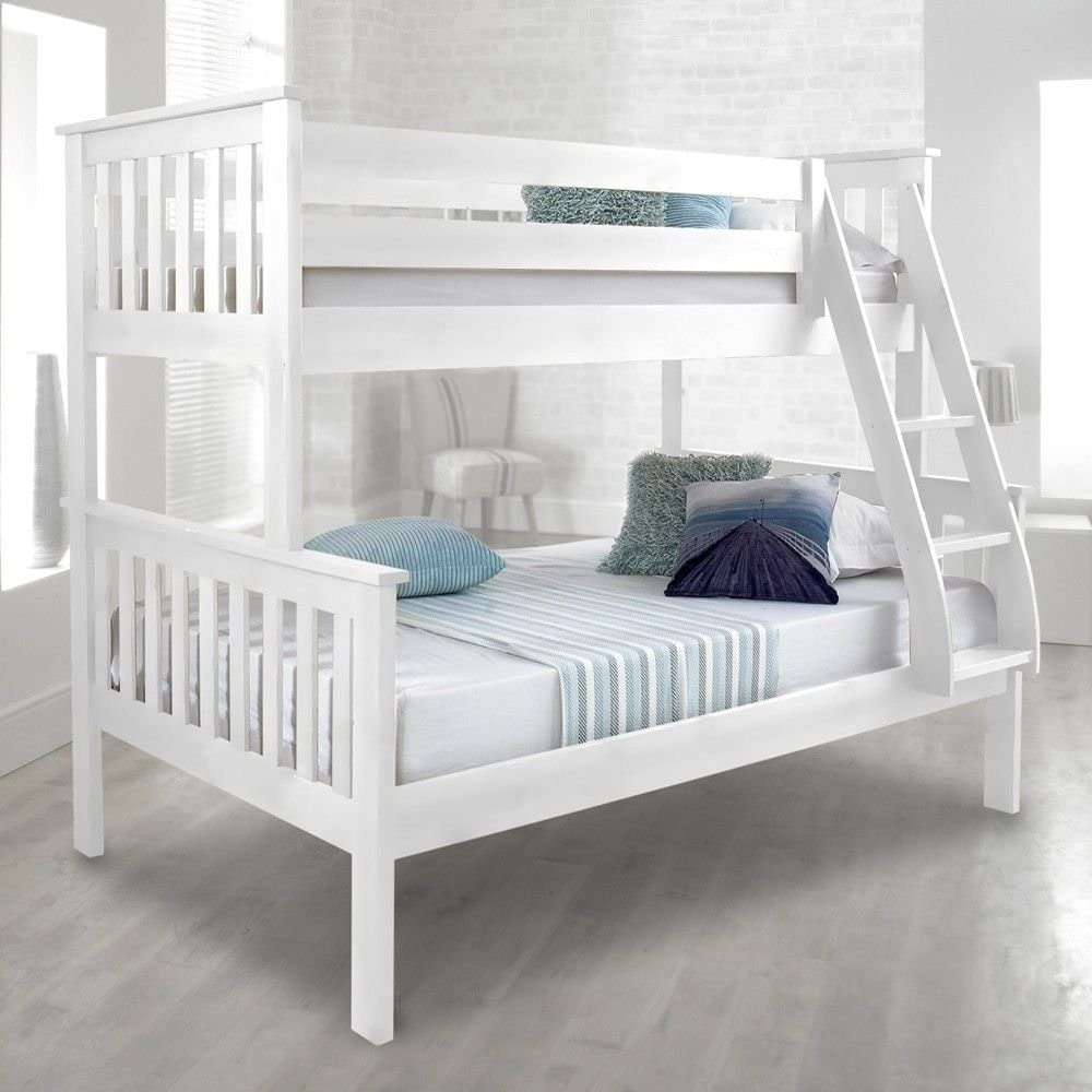 Happy Beds Atlantis White Finished Solid Pine Wooden Triple Sleeper Bunk Bed Frame Amazon Co Uk Kitchen Home