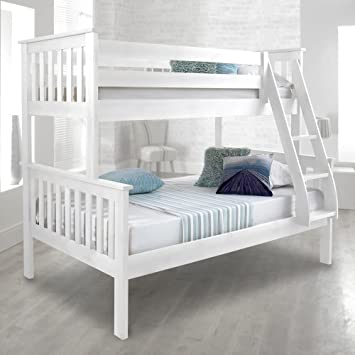 Happy Beds Atlantis White Finished Solid Pine Wooden Triple Sleeper