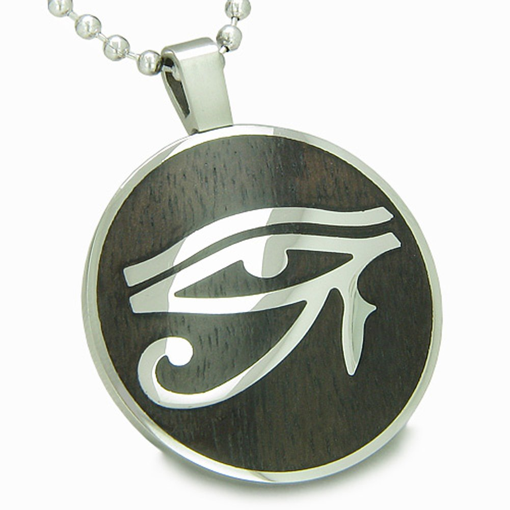 All Seeing Eye of Horus Egyptian Magic Black Wood Amulet Pendant 22 Inch Necklace