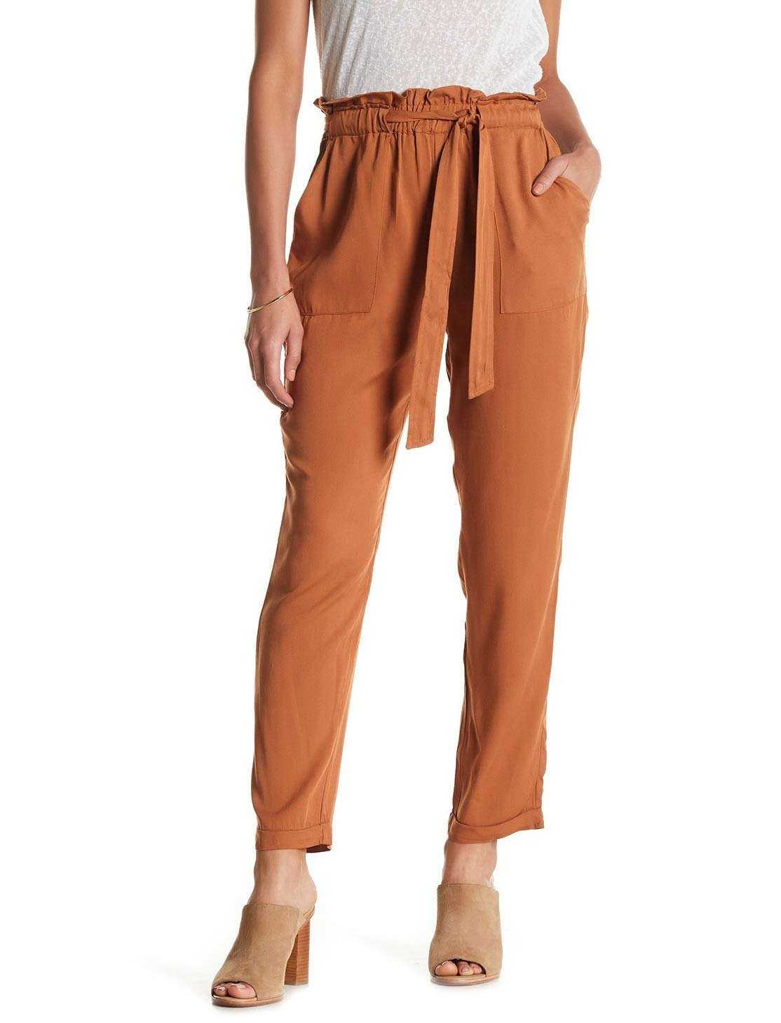 Know One Cares Rust Womens Small Pull-On Paper Bag Pants Brown S