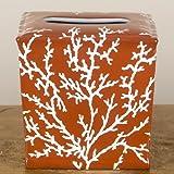 Home decor. Orange Coral Porcelain Tissue Box. Dimension: 6 x 6 x 6. Pattern: Corals & Shells.