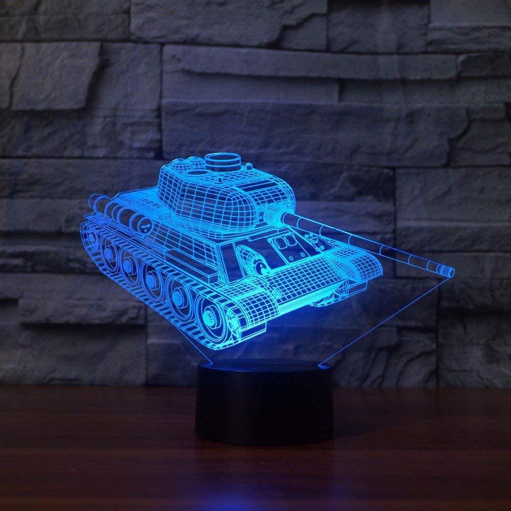 YKL World Tank Night Light 3D Illusion Lamp LED Nightlight 7 Color Changing Touch Sensor Desk Table Lamp with USB Cable Car Toy for Bedroom Kids Boys Birthday Xmas Gifts