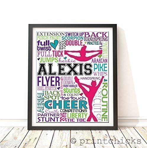 Competitive Cheer Typography Personalized Print - PrintChicks Cheerleader Art Decor Poster Team Gift