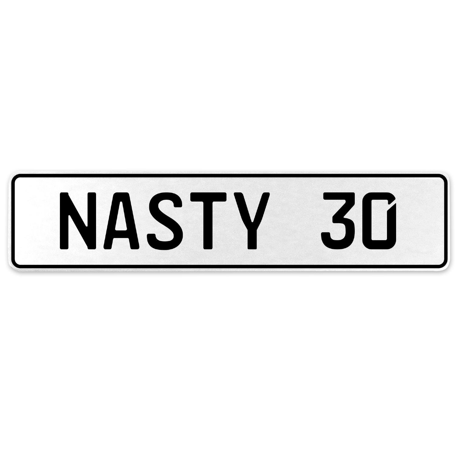 Vintage Parts 556904 Nasty 30 White Stamped Aluminum European License Plate