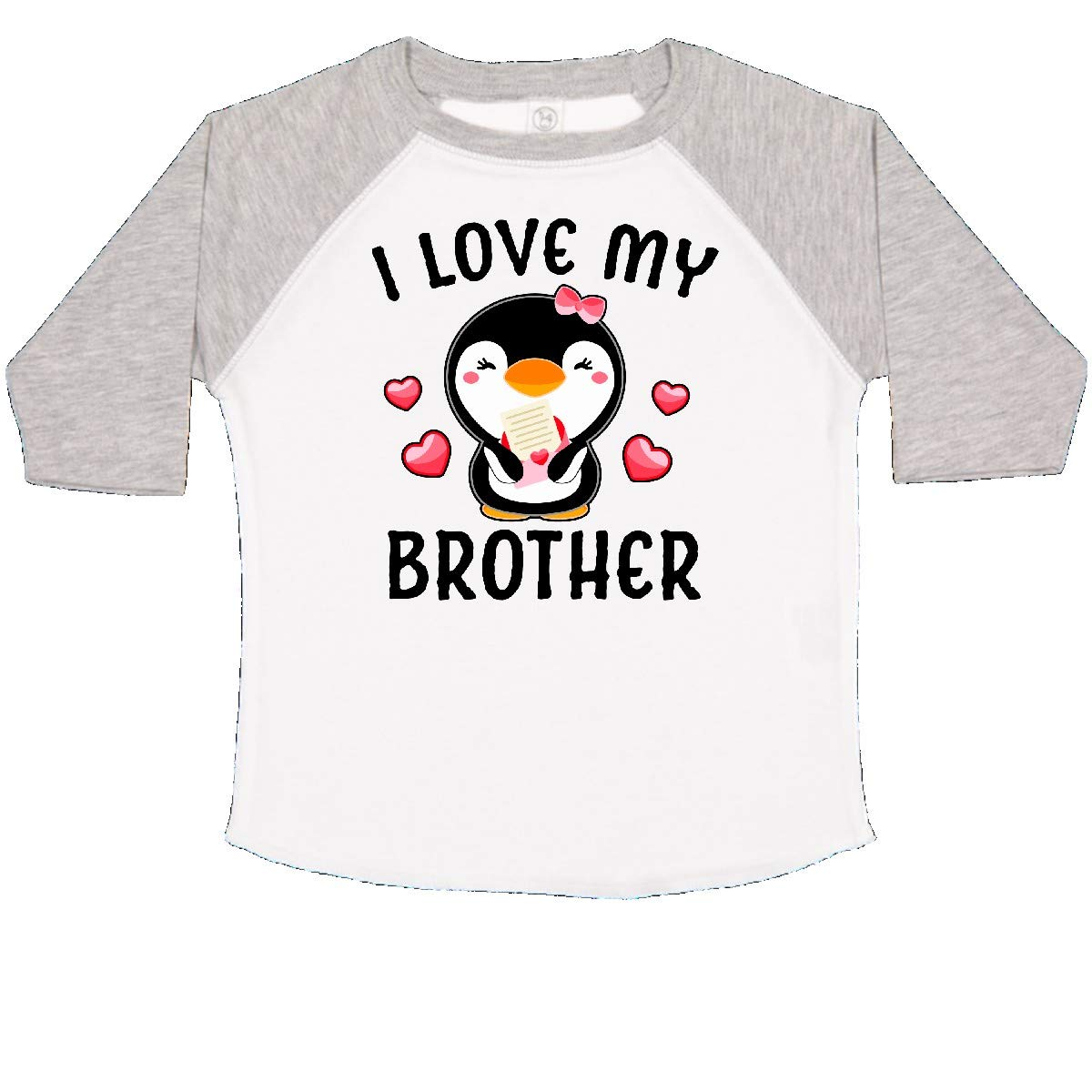 inktastic I Love My Brother with Cute Penguin and Hearts Toddler T-Shirt