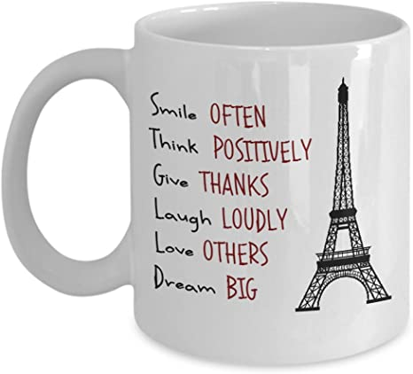 Amazon Com Funny Quotes On Coffee Mug Smile Often Think Positively Give Thanks Laugh Loudly Love Others Dream Big Kitchen Dining