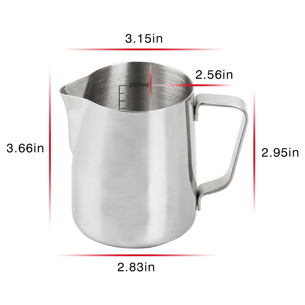 Ndier Stainless Steel Milk Frothing Pitcher 350ml/12 oz Milk Frother Cup with Measurement Line and Sharp Mouth - Perfect for Coffe Latte Cappuccino Making