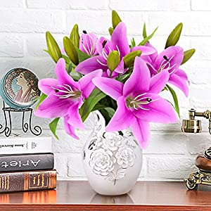 YOBANSA 5 pcs Artificial Lily Flowers Real Touch Artificial Flowers Arrangement for Wedding Bouquets Home Party Decoration ... 93
