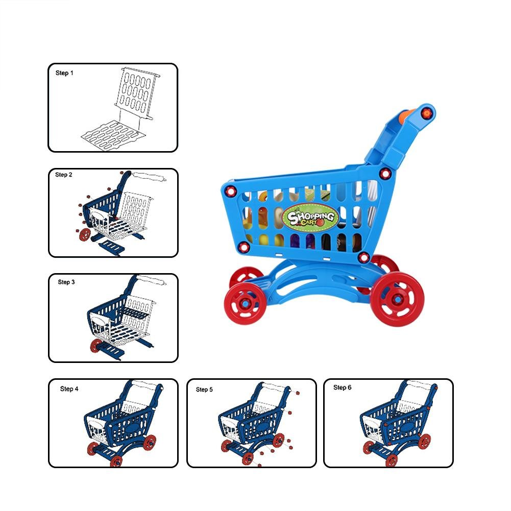 Kids Shopping Cart Precious Toys Kids Toddlers Pretend Role Play Food Fruits Playing Game with Groceries(Blue with Food) by Fdit (Image #4)