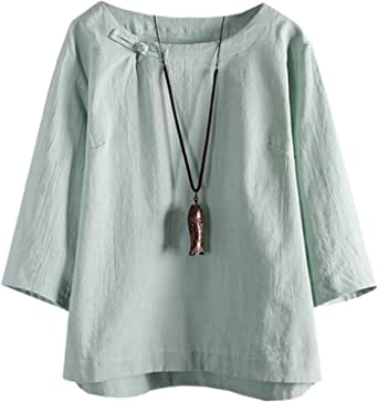 SCOFEEL Women's Summer Linen Shirts 3/4 Sleeve Chinese Frog Button Tops Blouse