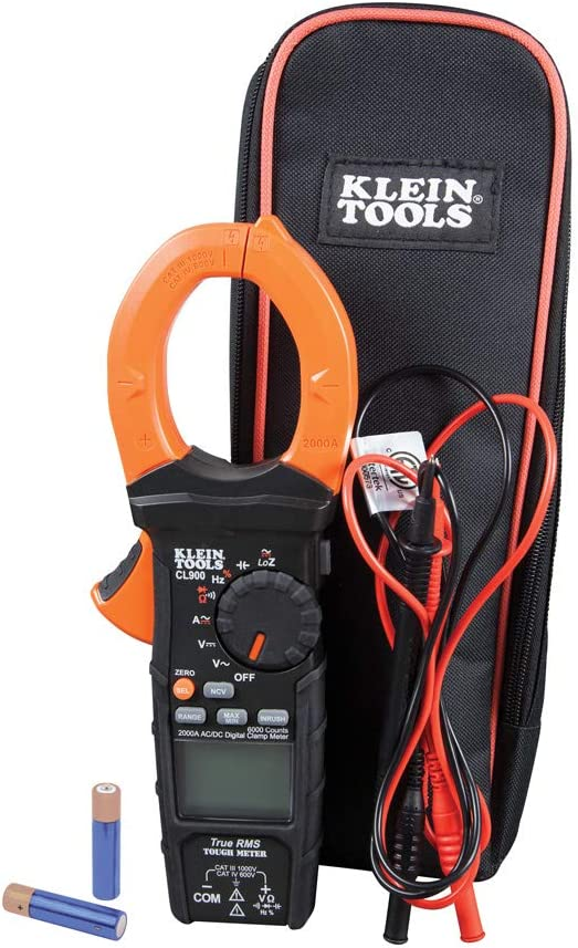 Klein Tools CL900 Digital Clamp Meter, Auto-Ranging TRMS, Low Impedance (LoZ) Mode, 2000 Amp, Measures Volts, Resistance, Frequency, More