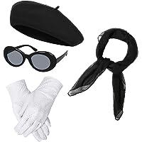 NUWIND - Accesorios de Vestuario de los años 40 para Mujer, Gorro Francés de Boina, Bufanda de Gasa, Guantes, Gafas de…